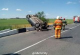 Пьяный брестчанин несколько раз перевернулся на автомобиле и сломал ограждение моста