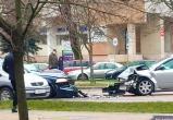 Лобовая авария с участием двух легковушек в Бресте (видео)